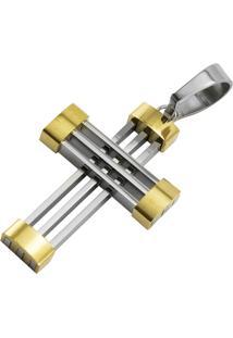 Pingente Tudo Jóias Cruz De Aço Inox 316L - Unissex-Prata+Dourado