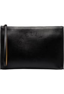 Stella Mccartney Black Perforated Logo Faux Leather Clutch Bag - Preto