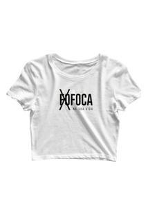 Blusa Blusinha Feminina Cropped Tshirt Camiseta Fofoca Foca Branco