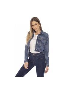 Jaqueta Jeans Denim Zero Retrô Cropped Barra Corte A Fio