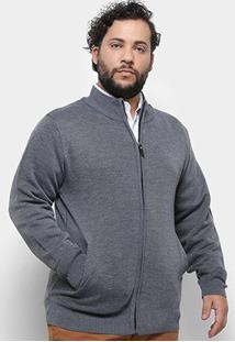 Jaqueta Tricô Delkor Plus Size Masculina - Masculino-Cinza
