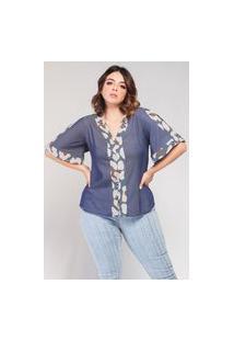 Blusa Jeans Com Recortes Estampados Elegance