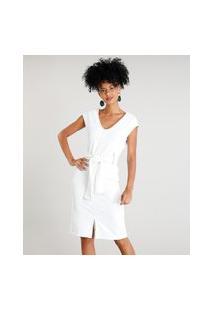 Vestido Feminino Curto Com Decote V E Pespontos Sem Manga Off White