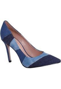 Sapato Scarpin Casual Multi Christian Fischer Feminino - Feminino-Azul