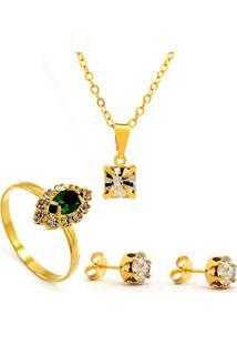 Kit Horus Importgargantilha Pingente Cristal Quadrado - Brincos - Anel - Banhado Em Ouro 18K - Kit10545.