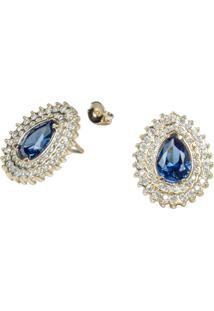 Brinco Fashionarium Cristal Azul Cravejado De Zircônias Semi Joia Luxo Ouro 18K