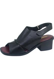Sandália S2 Shoes Salto Lúcia Preto E Vinho