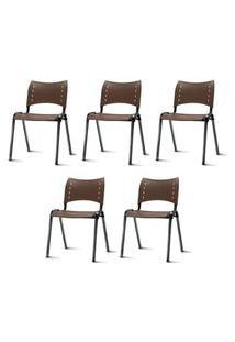 Kit 5 Cadeiras Iso Assento Marrom Base Preta - 57933 Marrom