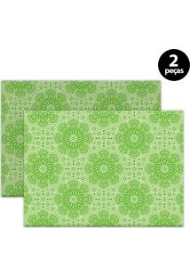 Jogo Americano Mdecore Ornamental 40X28Cm Verde 2Pçs