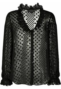Emporio Armani Sheer Polka Dot Patterned Blouse - Preto