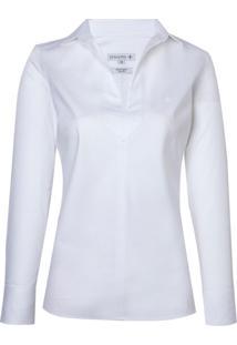 Camisa Ml Fem Cetim Maq Sem Vista (Branco, 44)