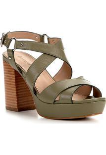 Sandália Couro Shoestock Meia Pata Amazon Feminina - Feminino-Verde