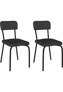 Cadeiras Kit 2 Cadeiras Vinil Preto/Pintado - Pozza