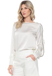 Camisa Ana Hickmann Reta Babados Off-White