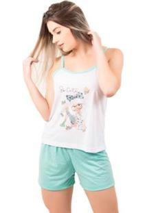 Pijama Bella Fiore Short Doll Regata Juliana - Feminino-Branco+Verde