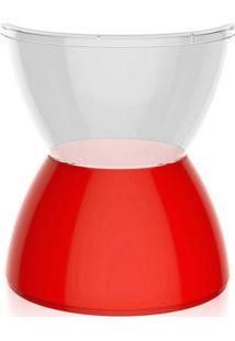 Banco   Banqueta Hydro Policarbonato Cristal E Vermelho I'M In