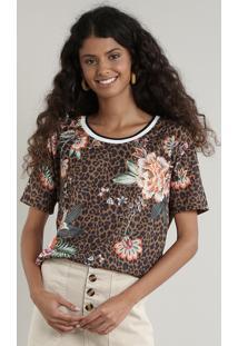 Blusa Feminina Estampada Animal Print Onça Com Flores Manga Curta Decote Redondo Bege