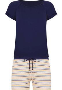 Pijama Feminino Lupo 24326-001 2800-Marinho