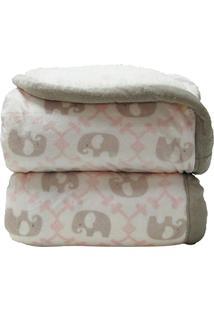 Cobertor Donna Bebê 100X75 Cm Elefante Rosa Com Sherpa