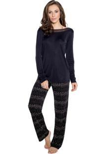 Pijama Longo Inspirate Abstrato Feminino - Feminino-Preto