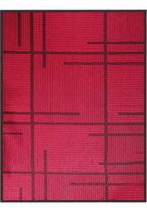 Tapete Sisllê Geométrico V Retangular Polipropileno (50X80) Preto E Vermelho