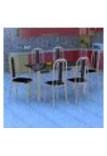 Conjunto De Mesa Com 6 Cadeiras Granada Prata E Preto Liso Gr
