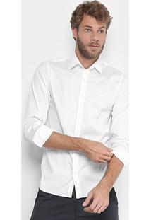 Camisa Lacoste Slim Fit Com Logo Masculina - Masculino-Branco