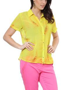 Camisa Energia Fashion Manga Curta Amarelo