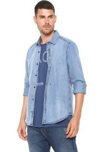 Camisa Jeans Replay Reta Azul