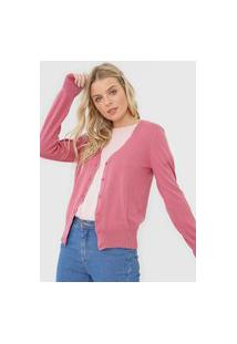 Cardigan Tricot Hering Liso Rosa
