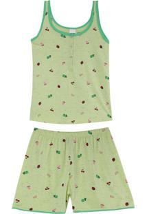 Pijama Verde Frutinhas Em Botonê
