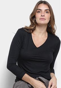Blusa Cantão Decote V Malha Viscose Feminina - Feminino-Preto