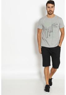 "Camiseta Mescla ""Dinossauro""- Cinza Claro & Pretavip Reserva"