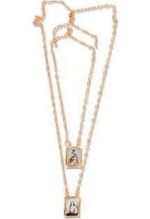 Escapulario Le Diamond Sagrada Familia Dourado - Feminino