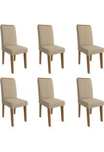 Conjunto Com 6 Cadeiras De Jantar Milena Suede Savana E Caramelo
