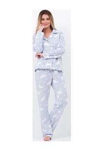 Pijama Estampado Em Fleece Com Abertura Total