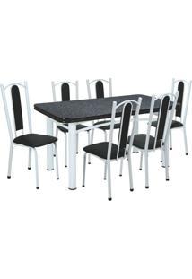 Conjunto De Mesa Com 6 Cadeiras Marina Branco