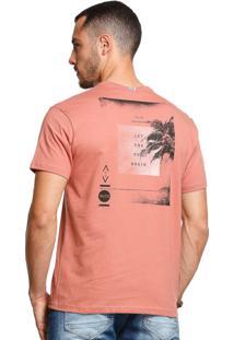 Camiseta Slim Fit Manga Curta Vlcs 18578 Laranja