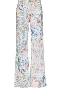 Etro Calça Jeans Flare Com Estampa Paisley - Azul