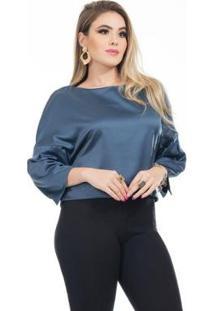 Blusa Clara Arruda Cetim Cropped 20632 Feminina - Feminino-Marinho