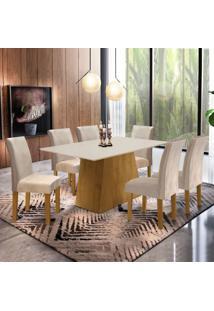 Conjunto Sala De Jantar Mesa Tampo Mdf Arezo 6 Cadeiras Espanha Siena Móveis Ypê