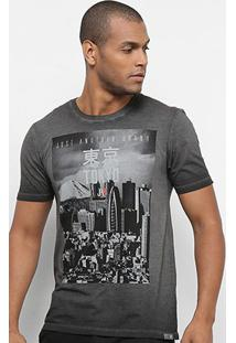 Camiseta Jab Estampada Tokyo City Masculina - Masculino-Cinza