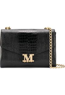 Max Mara Crocodile Effect Monogram Crossbody Bag - Preto