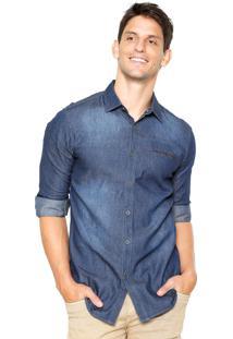 Camisa Jeans Broken Rules Recorte Azul