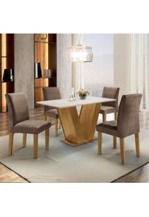 Conjunto Sala De Jantar Mesa Tampo Mdf 4 Cadeiras Espanha Siena Móveis Ypê