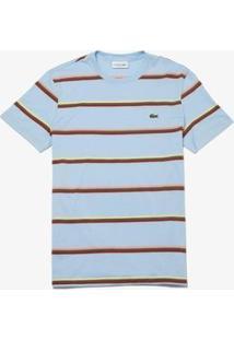 Camiseta Lacoste Masculina - Masculino-Azul Claro+Branco