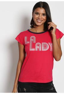 "Camiseta ""La Lady""- Rosa Escuro & Azul Marinho- Trittriton"