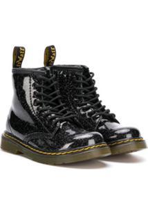 Dr. Martens Kids Ankle Boot Com Cadarço E Efeito De Brilho - Preto