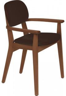 Cadeira Estofada Com Braços London Tramontina Amêndoa/Café
