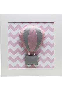 Quadro Decorativo Balão Chevron Quarto Bebê Infantil Potinho De Mel Rosa